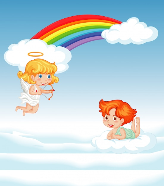 Two cupids flying in the sky Free Vector