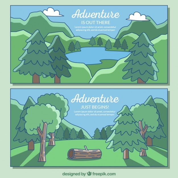 Two cute banners about the adventures in the forest