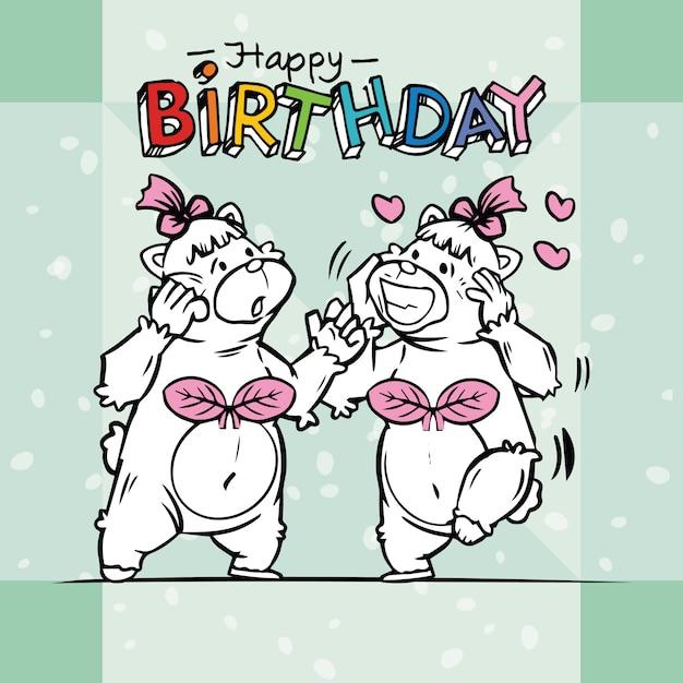 Two cute bears are celebrating birthdays Premium Vector