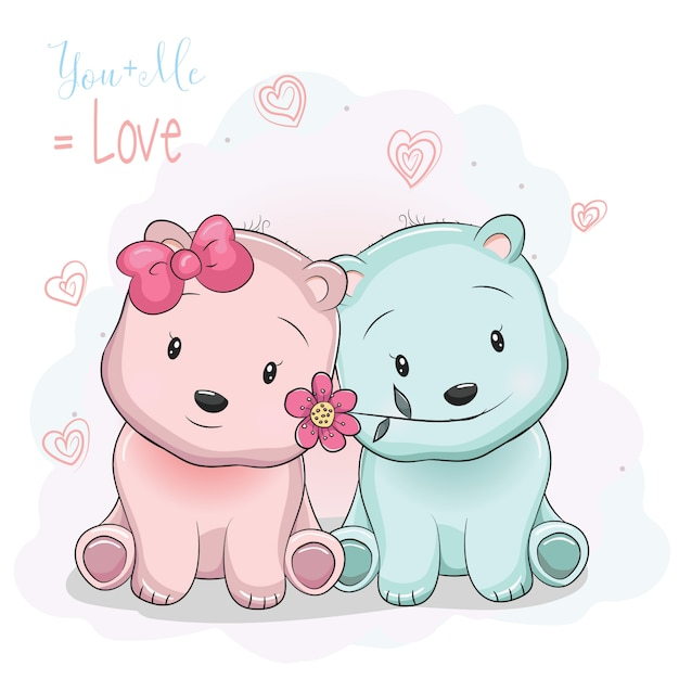 Two cute cartoon bears boy and girl on love background Premium Vector