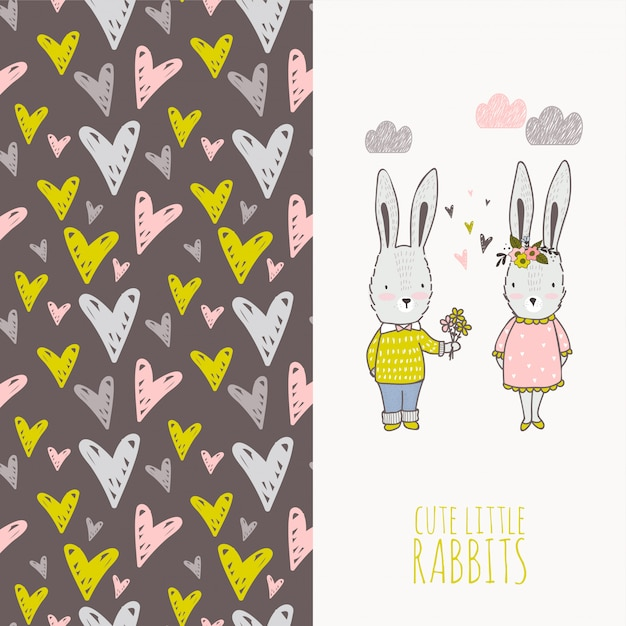 Two cute cartoon rabbits card and seamless pattern. Premium Vector