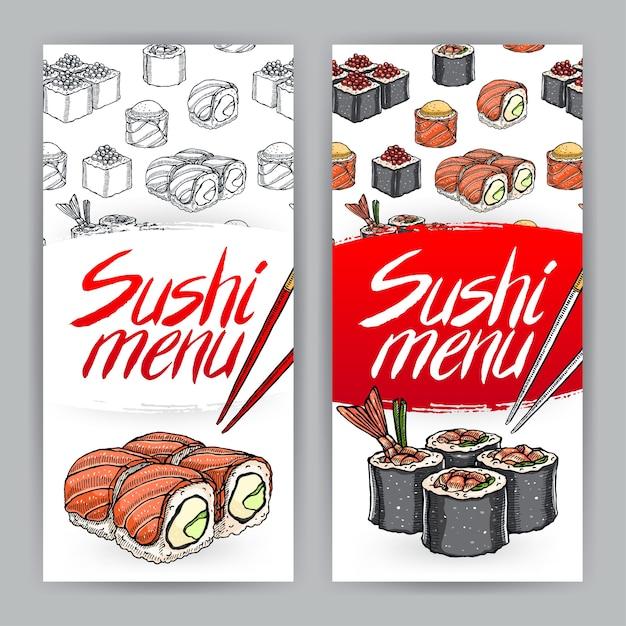 Две симпатичные обложки для суши-меню. рисованная иллюстрация Premium векторы
