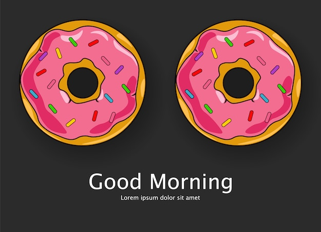 Two cute desserts cartoon style with text good morning Premium Vector