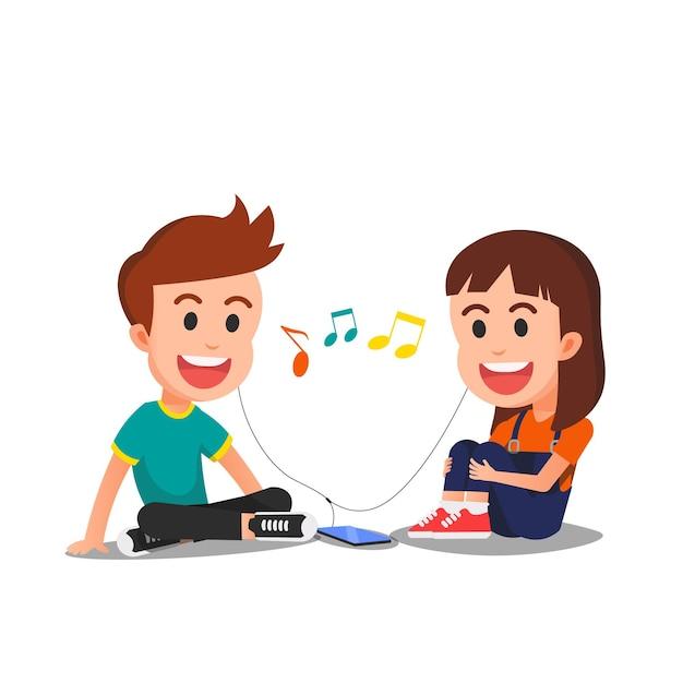 Два милых ребенка вместе слушают музыку Premium векторы