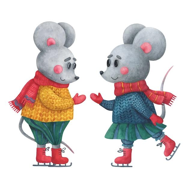 Катаются две милые мышки. картинки с животными в зимней одежде. Premium векторы