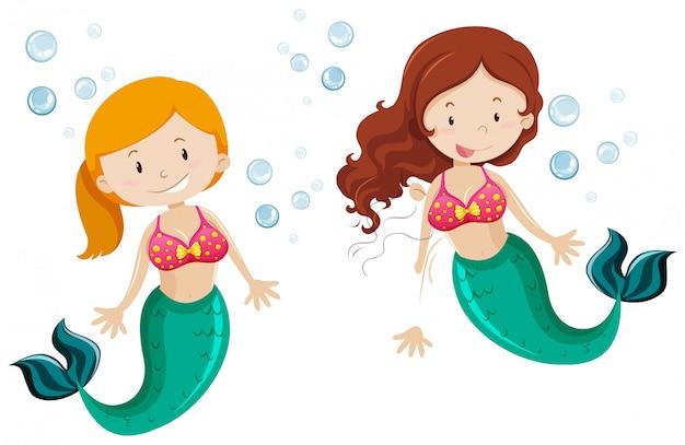 Two cute mermaid swimming underwater Free Vector
