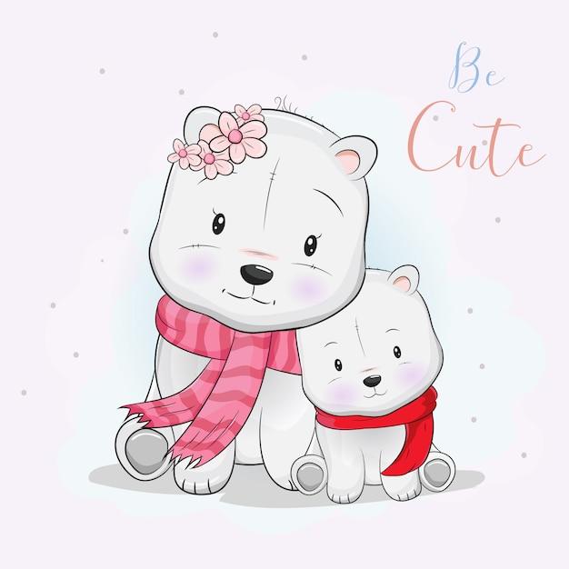 Two cute polar bear love each other Premium Vector