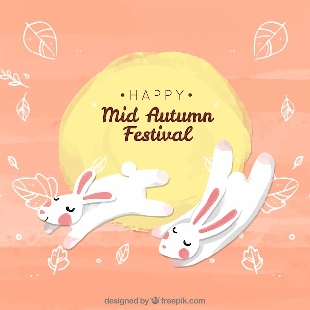 Two cute rabbits, mid autumn festival