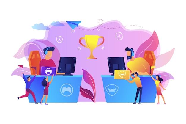 Due giocatori di cyber sport ai computer in competizione per un trofeo e fan che tifano con le bandiere. appassionati di e-sport, fan di giochi per computer, concetto di fan club di e-sport. Vettore gratuito