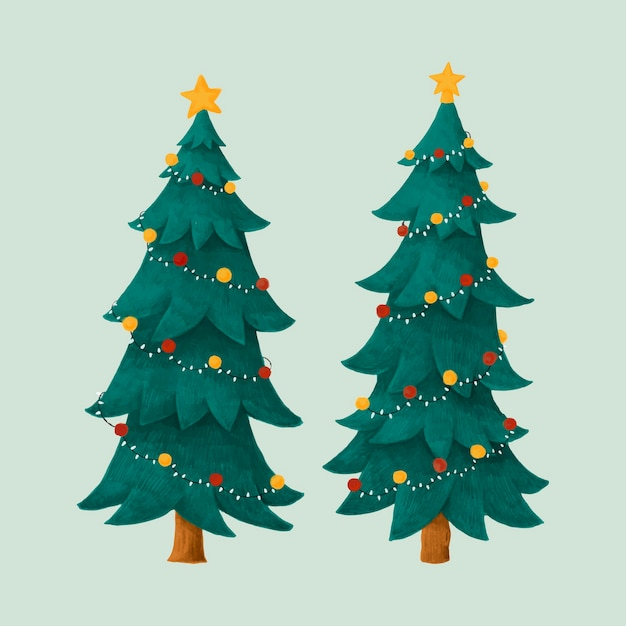 Christmas Tree Illustration.Two Decorated Christmas Trees Illustration Vector Free