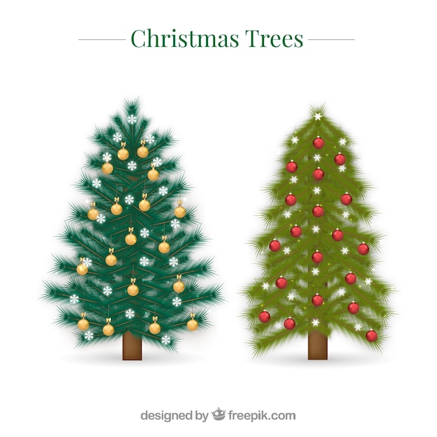 Two Become One Decorative Trees: Two Decorative Christmas Trees In Realistic Style Vector