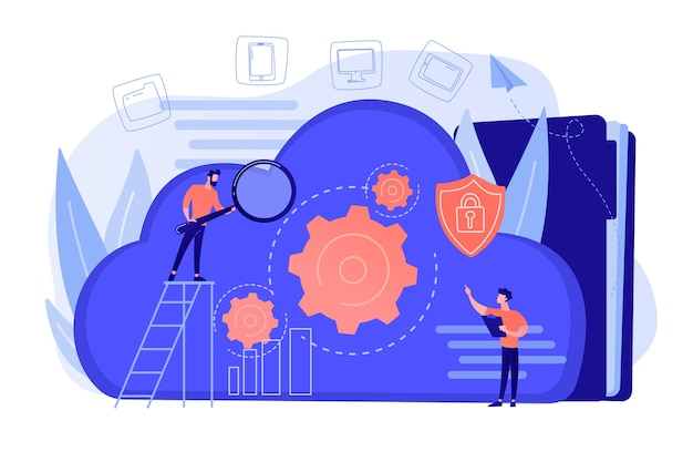Two developers looking at the gears on the cloud. digital data storage, database securiry, data protection, cloud technology concept. vector illustration isolated Free Vector