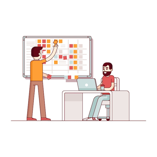 Two developers planning their work Free Vector