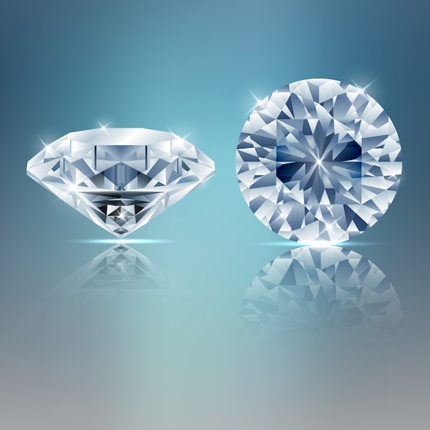 Two diamonds sparkling background Premium Vector