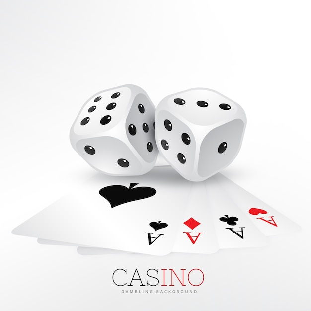 Two dice with casino cards Free Vector