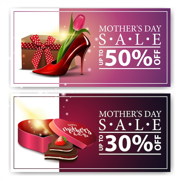Two discount banners for mother's day Premium Vector