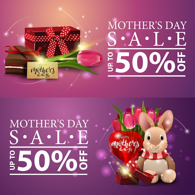 Two discount modern banners for mother's day Premium Vector