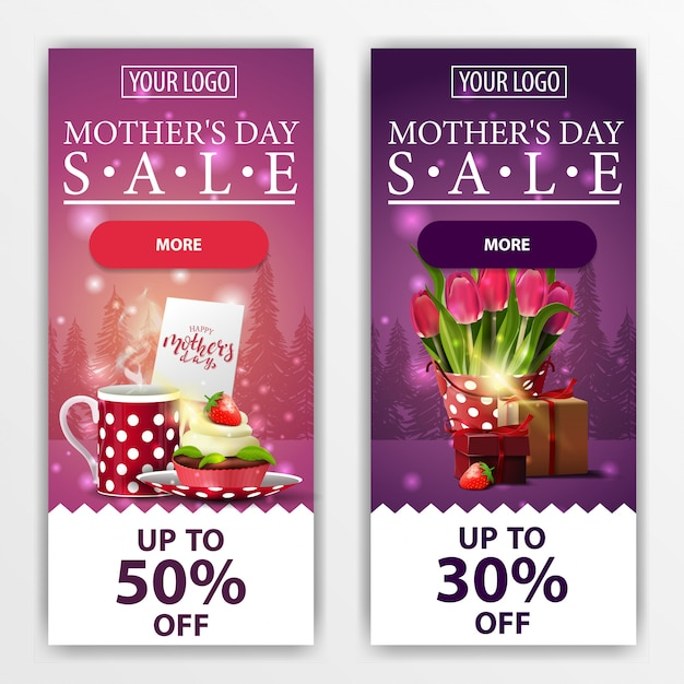 Two discount modern vertical banners for mother's day Premium Vector