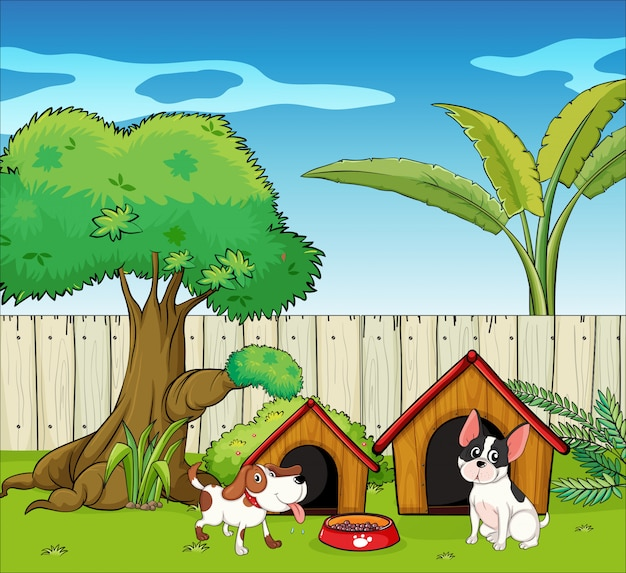 Two dogs inside the fence Free Vector