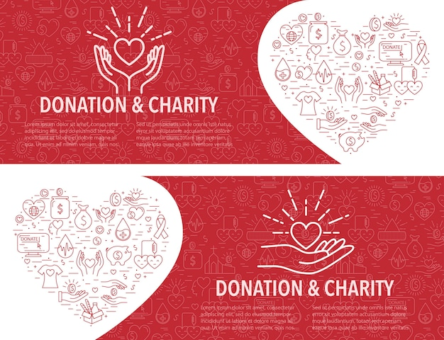 Two donation banner template. horizontal banner Premium Vector