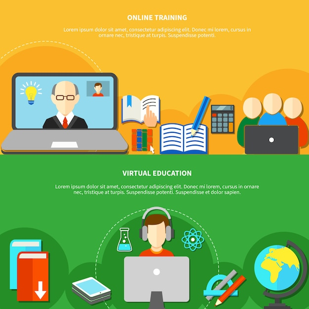 Two e learning banner set Free Vector