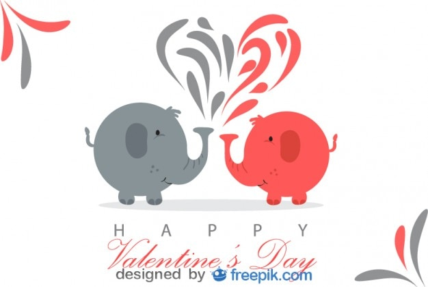 Two Elephants In Love In A Valentineu0027s Day Postcard Free Vector