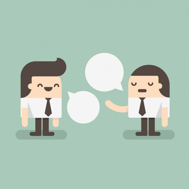 Two employees speaking Free Vector