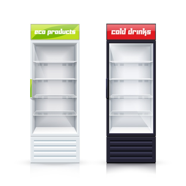 Two empty fridges realistic illustration Free Vector