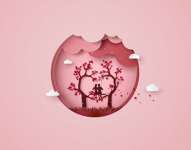 Two enamored under a love tree Premium Vector