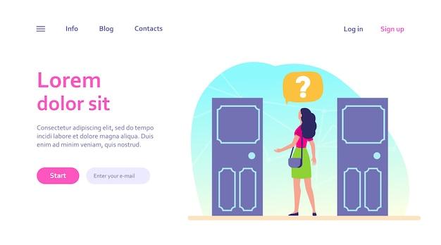 두 가지 입구 선택. 두 문 사이 선택 물음표를 가진 여자입니다. 웹 사이트 디자인 또는 방문 웹 페이지에 대한 솔루션, 기회, 딜레마 개념 무료 벡터
