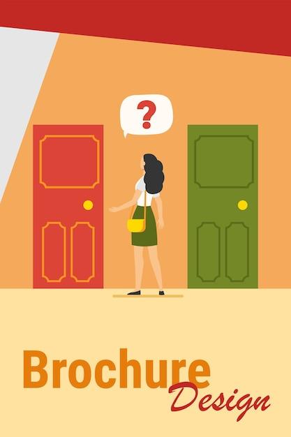 Due ingressi a scelta. donna con punto interrogativo scegliendo tra due porte piatta illustrazione vettoriale. soluzione, opportunità, concetto di dilemma Vettore gratuito