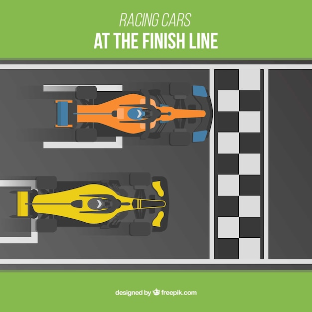 Two f1 racing cars crossing finish line Premium Vector