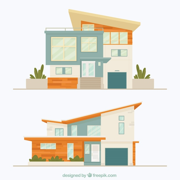 two facades of modern houses vector free download