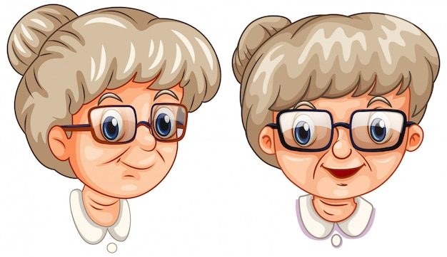 Two faces of grandmother wearing different glasses Free Vector