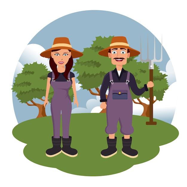 Two farmers in the farm scene Premium Vector