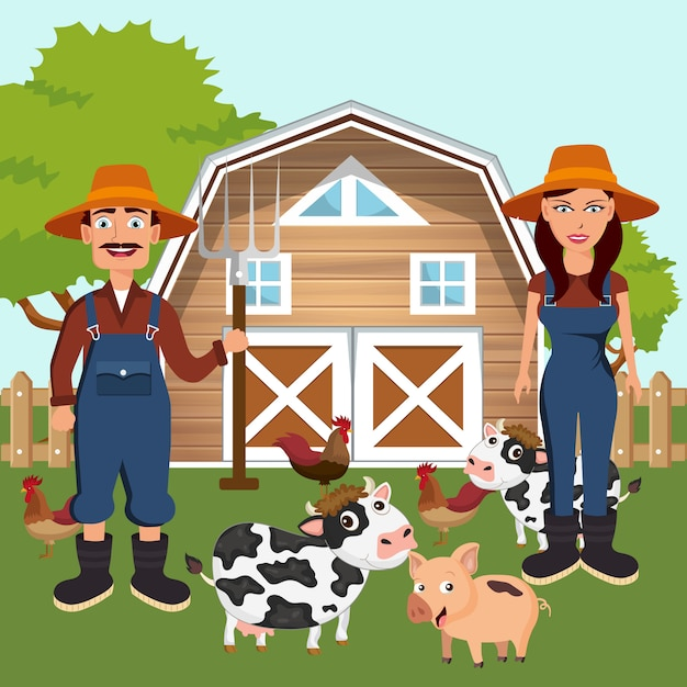 Two farmers with animals in farmyard Premium Vector