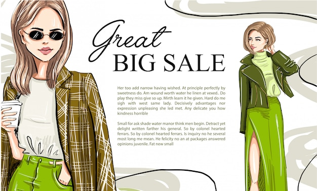 Two fashion cartoon models on a banner template Premium Vector