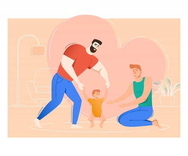 Two fathers raising son Free Vector