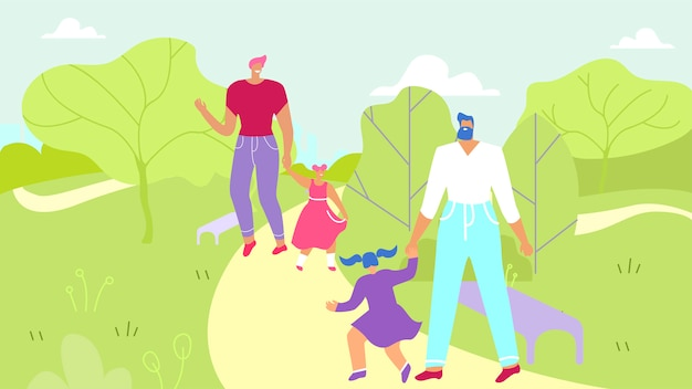 Two fathers walking with daughters in urban park Premium Vector