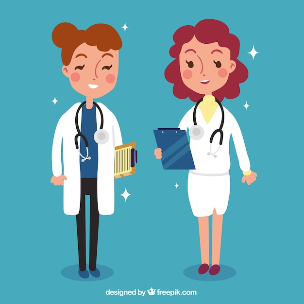 Two female doctors with clipboards