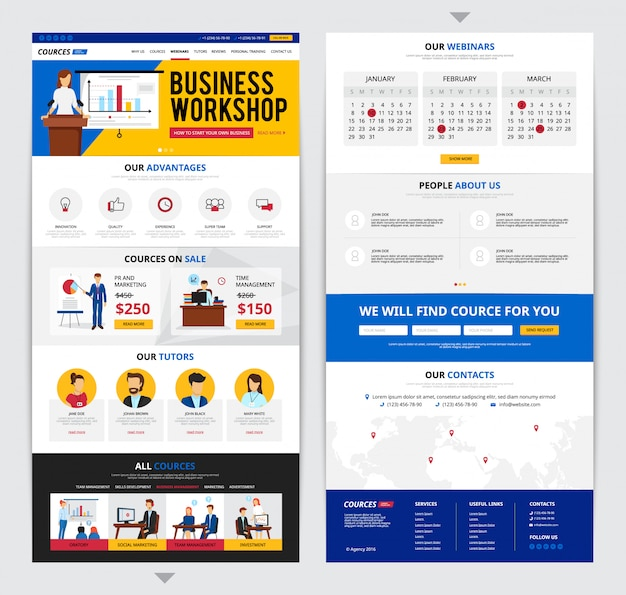Two flat design web pages presenting detailed information about business traning courses isolated on Free Vector