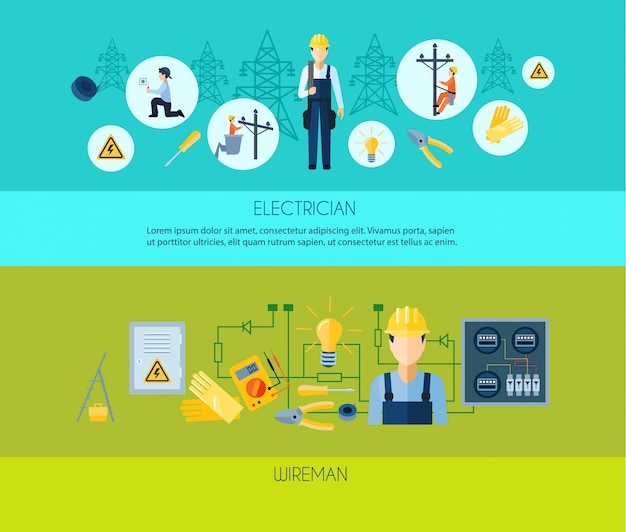 Two flat style banners presenting electrician and wireman Free Vector
