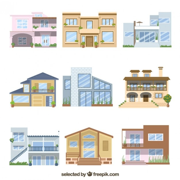 Two Floor House Set Vector Free Download: 2 floor house