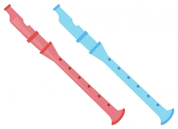 Two flutes in pink and blue Free Vector