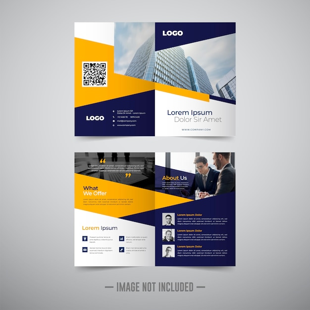 Two fold business brochure template Premium Vector