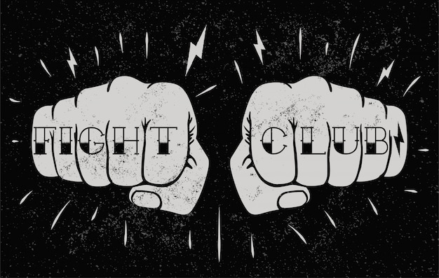 Two front view fists with fight club caption tattoo on fingers. fighting club concept illustration for poster  or t-shirt . vintage styled  illustration Premium Vector