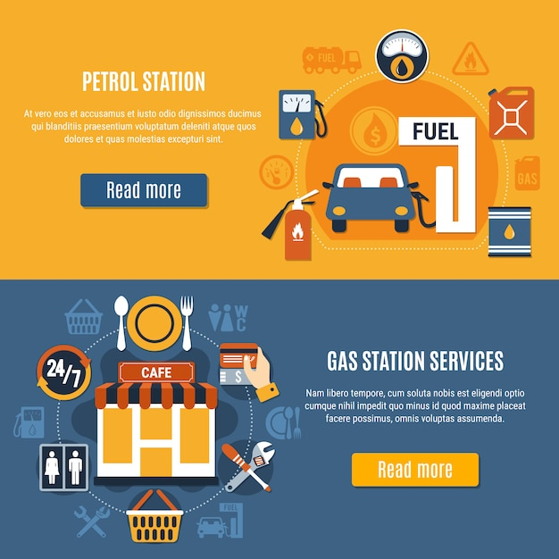 Two fuel pump banner set Free Vector