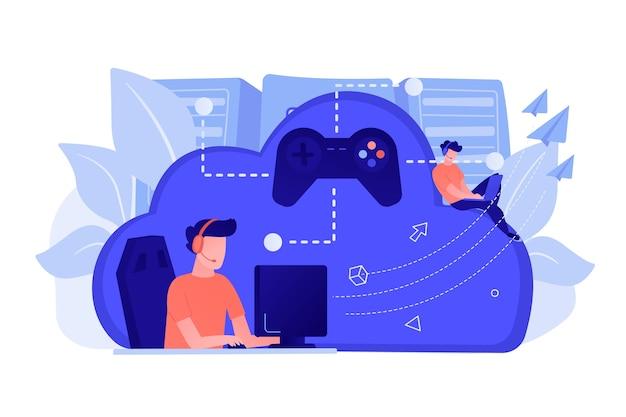 ジョイスティックに接続されたコンピューターをプレイする2人のゲーマー。オンデマンドゲーム、ビデオおよびファイルストリーミング、クラウドテクノロジー、さまざまなデバイスのゲームコンセプト。ベクトル分離イラスト。 無料ベクター