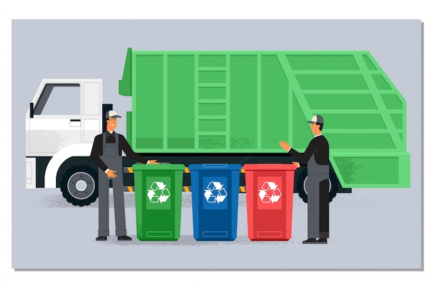 Two garbagemen working together on emptying dustbins for trash removal Premium Vector