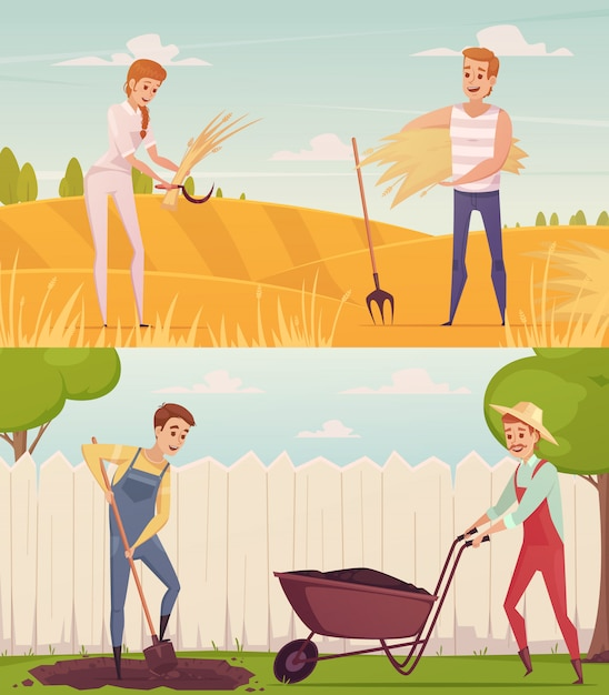 Two gardener farmer cartoon people compositions set Free Vector